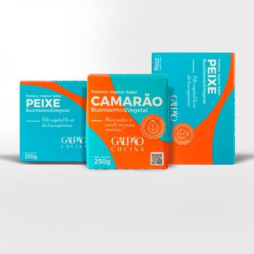 Kit 1 Camarão + 2 Peixe Vegetal