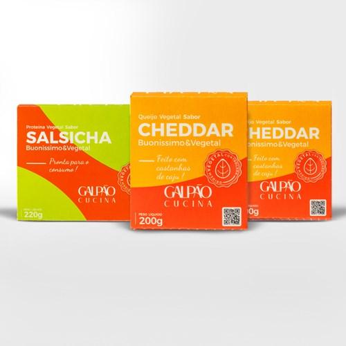 Kit 1 Salsicha + 2 Cheddar Vegetal